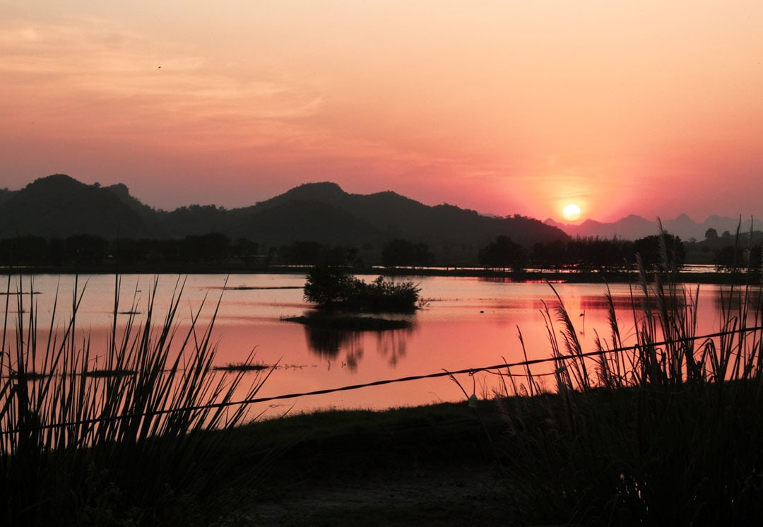 Sunset view in Ninh Binh countryside