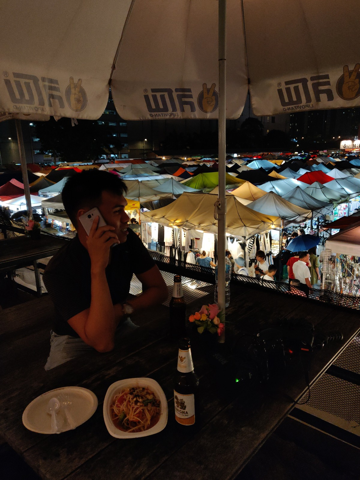 Rooftop bar at the night train market
