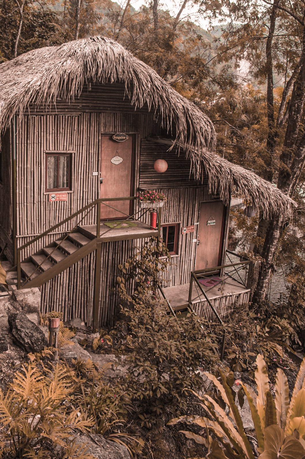 Lovely bamboo bungalows