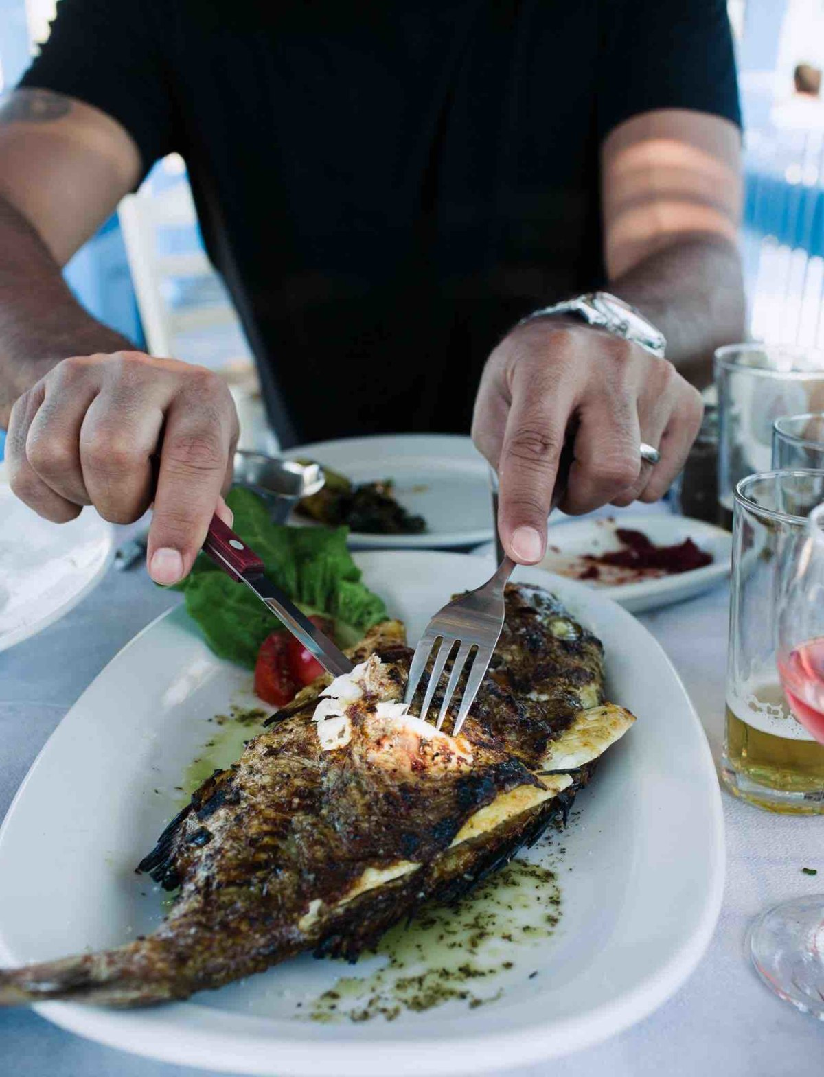 Charcoal grilled snapper