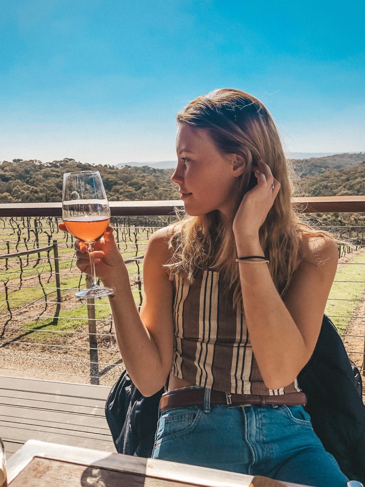Stopping for a cheeky wine at Nillimbuk Winery