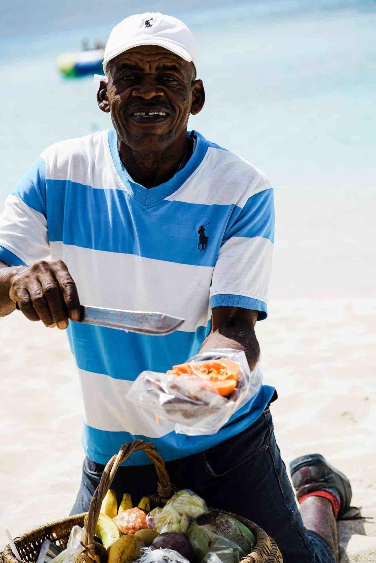 fresh fruit on the beach