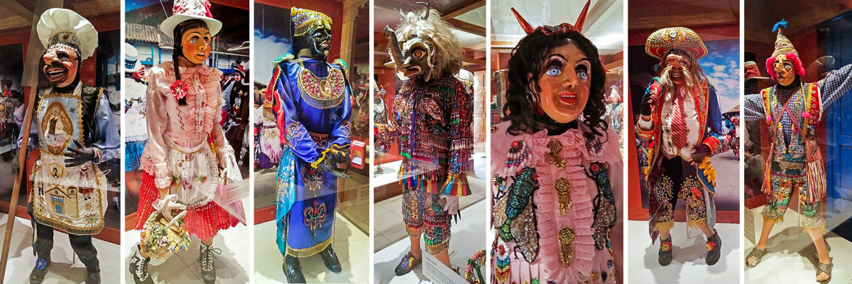 Typical dress of many types of dancers exhibited at the museum