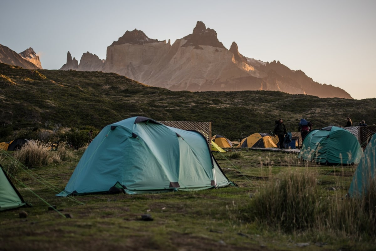 Paine Grande campsite may be busy yet it is always majestic