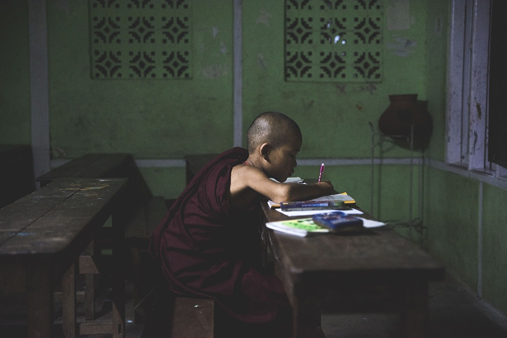 Kid studing at a Buddhist Monastery School