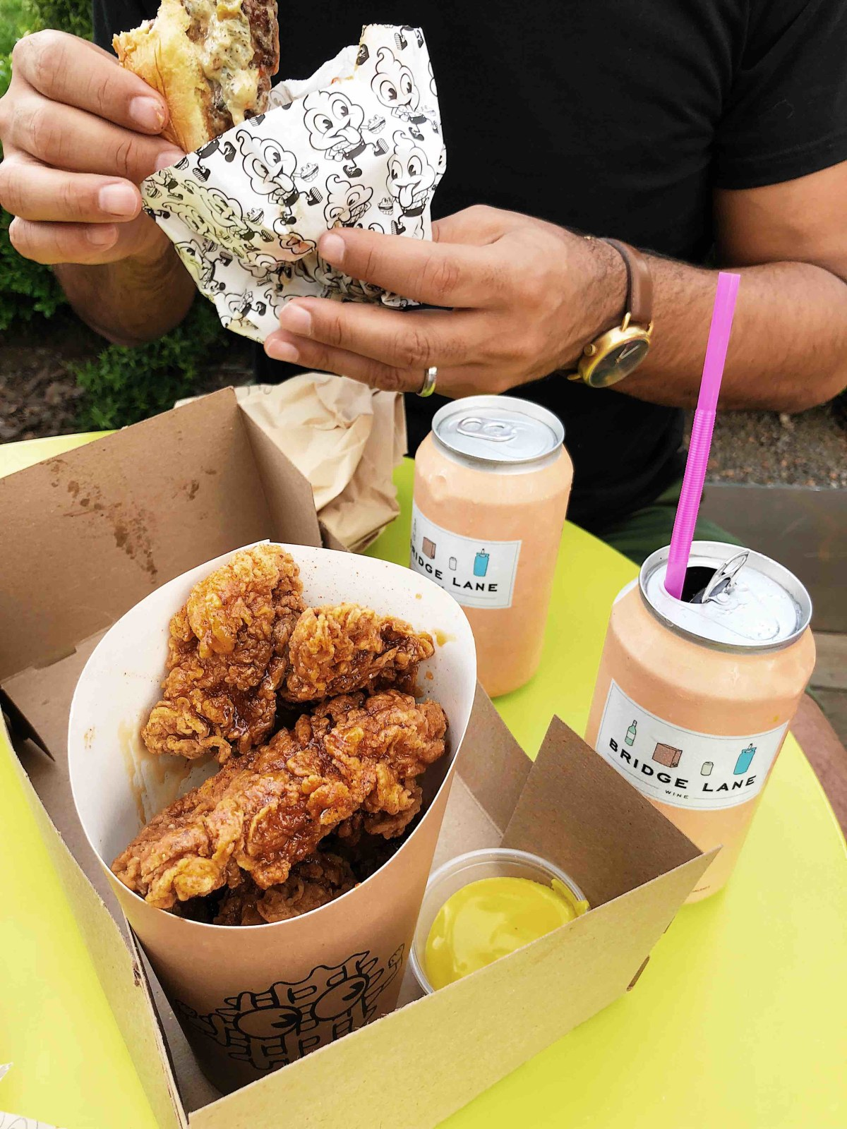 Delicious fried food and burgers