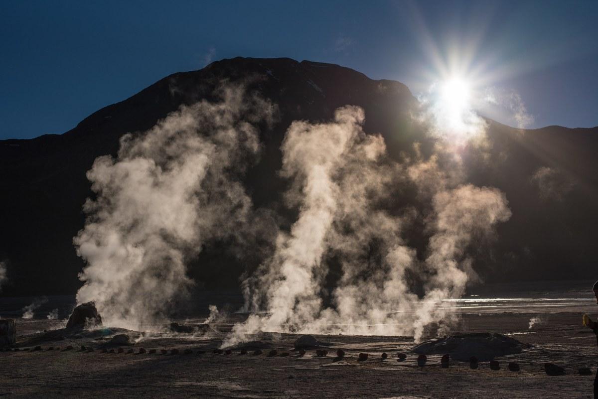 The Tatio geysers at sunrise in the Atacama