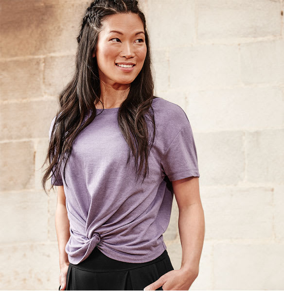 Woman wearing front-to-back tee
