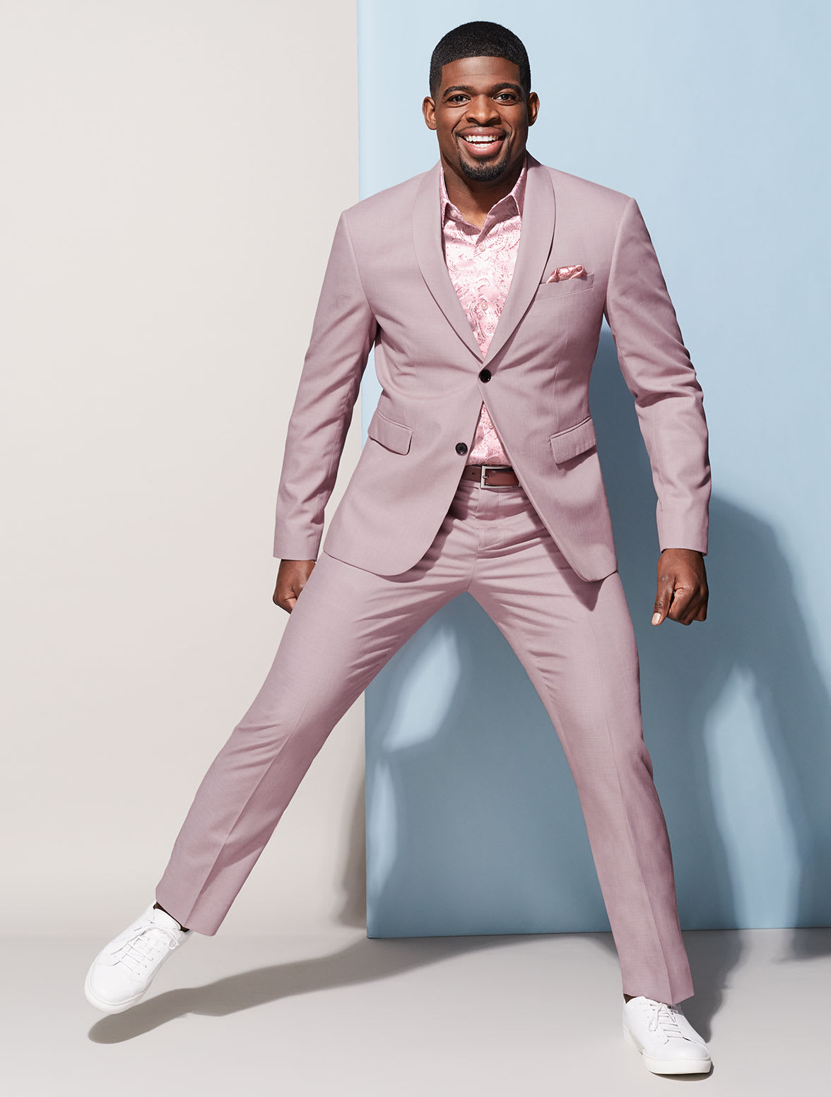 PK Subban in a Two-Tone Pink Suit