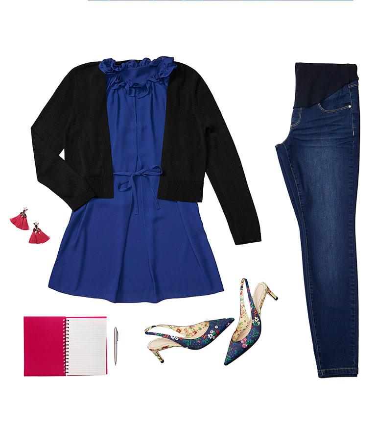 blue blouse, black blazer, jeans, shoes, blue t-shirt and floral t-shirt