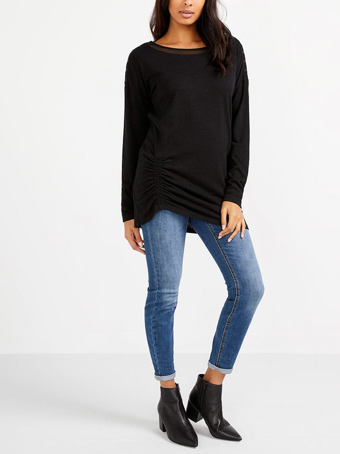 Long Sleeve Boat Neck Nursing Top