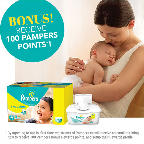 Bonus! Receive 100 Pampers points! By agreeing to opt-in, first time registrants of Pampers.ca will receive an email outlining how to receive 100 Pampers Bonus Rewards points, and setup their Rewards profile