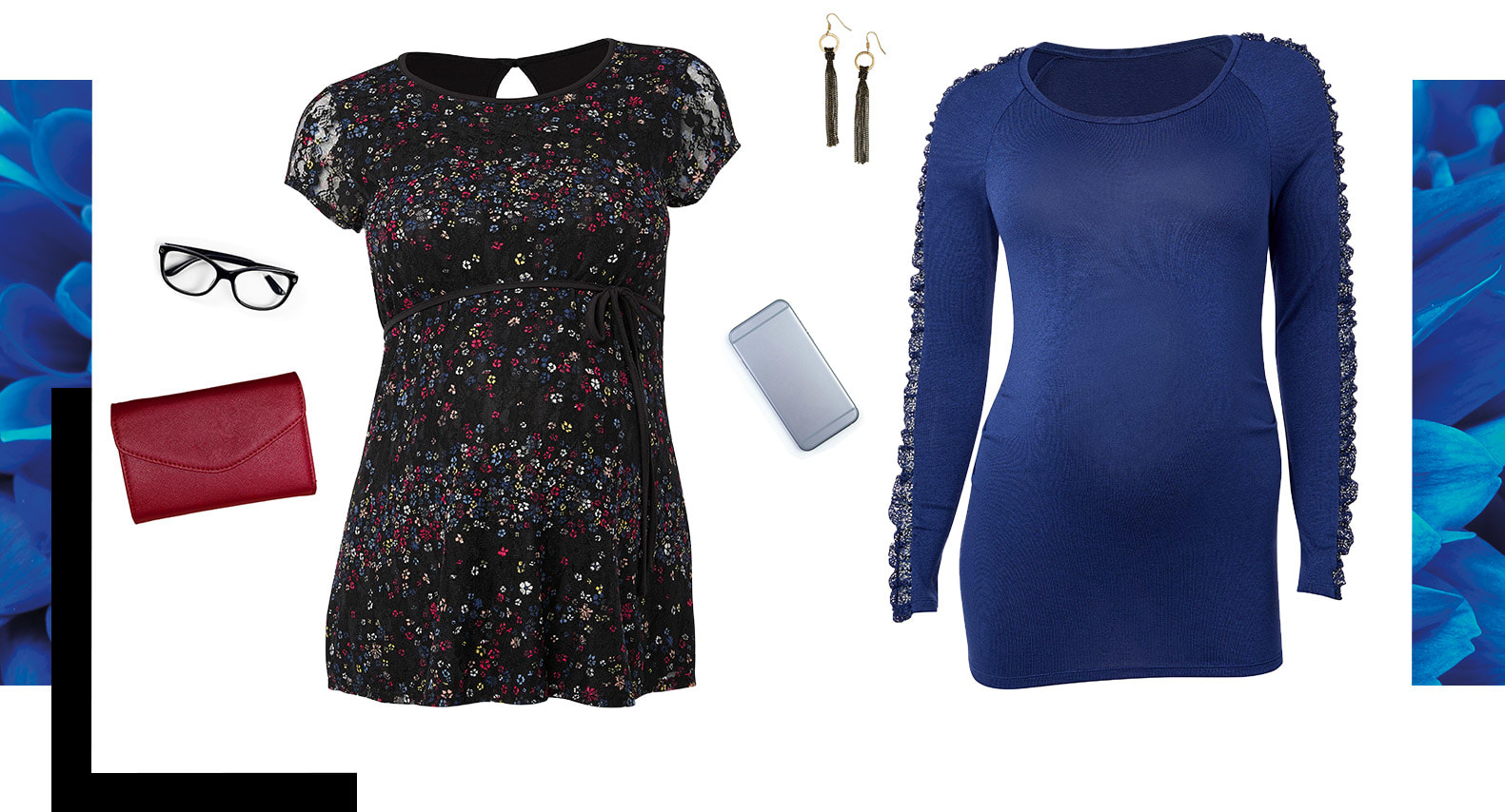 blue t-shit, floral blouse, glasses, earring, cellphone and wallet