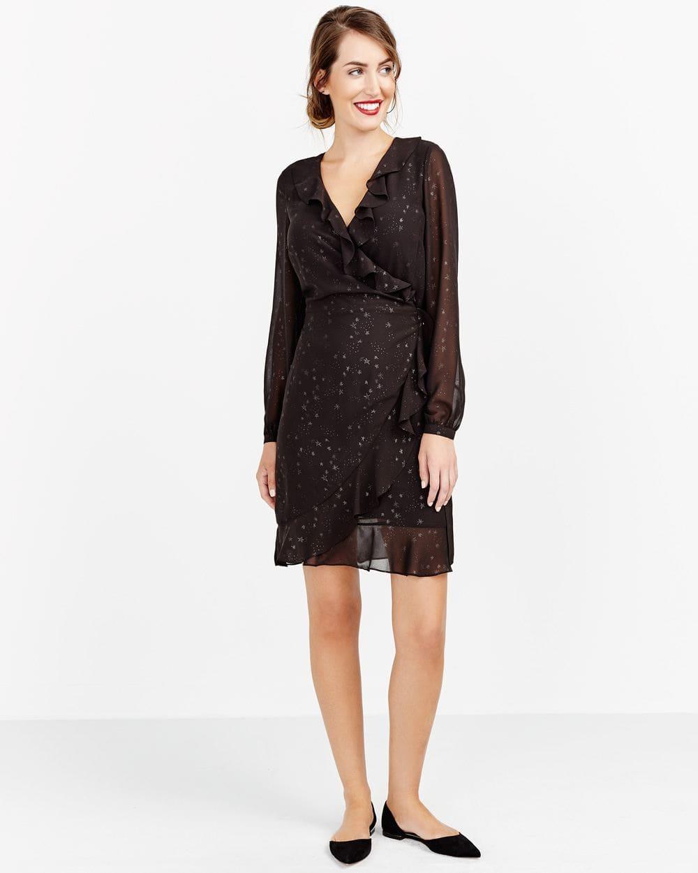 Mesh Ruffle Wrap Dress