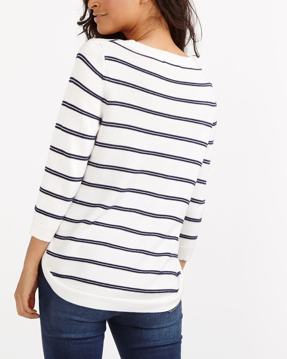 ¾ Sleeve Rounded Hem Sweater