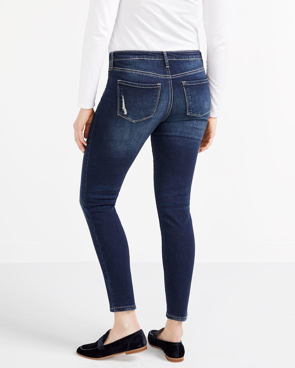 Jeans à effet déchiré-rapiécé