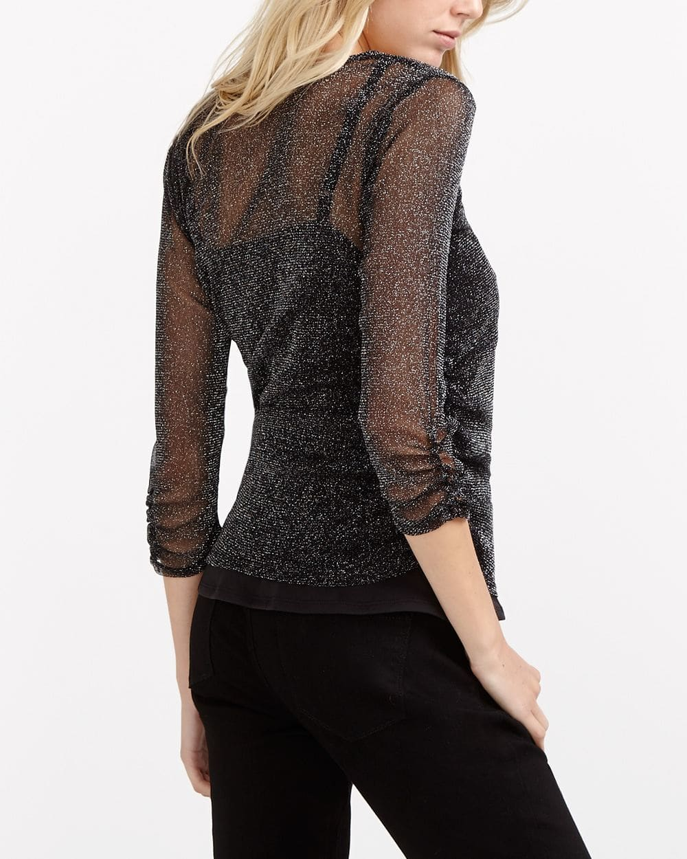 ¾ Ruched Sleeve Mesh Top