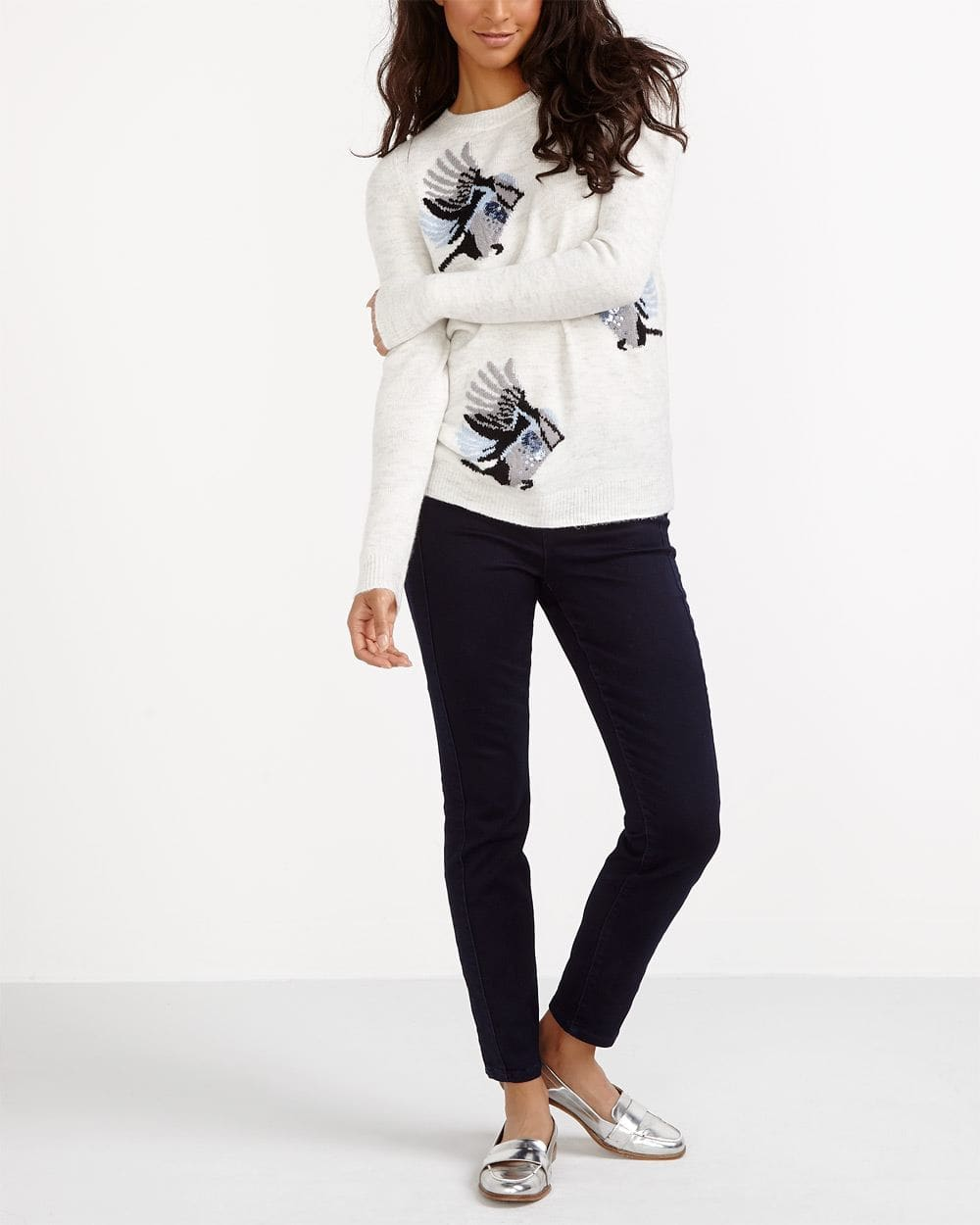 Embroidered Crew Neck Sweater