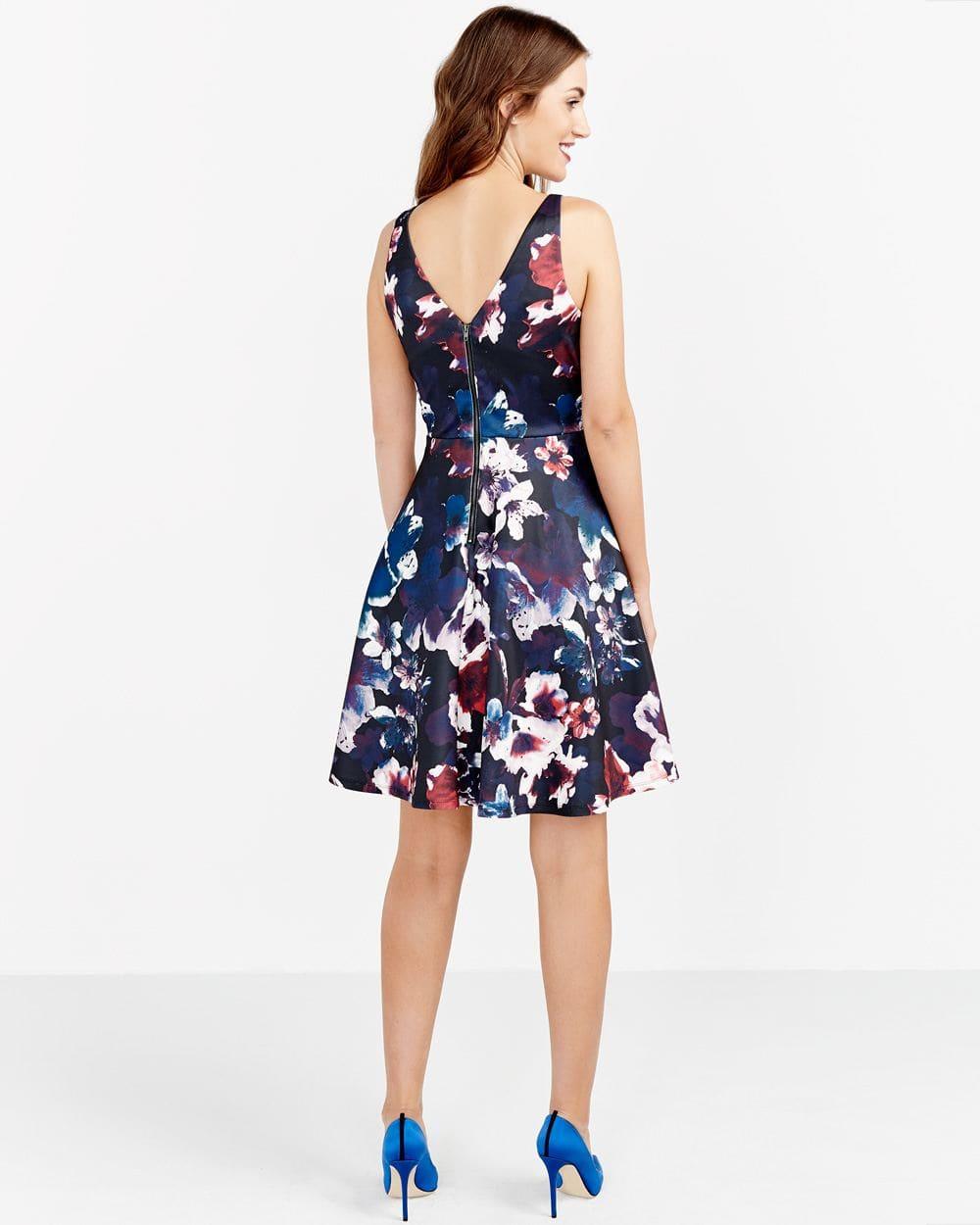 Mesh Insert Printed Dress