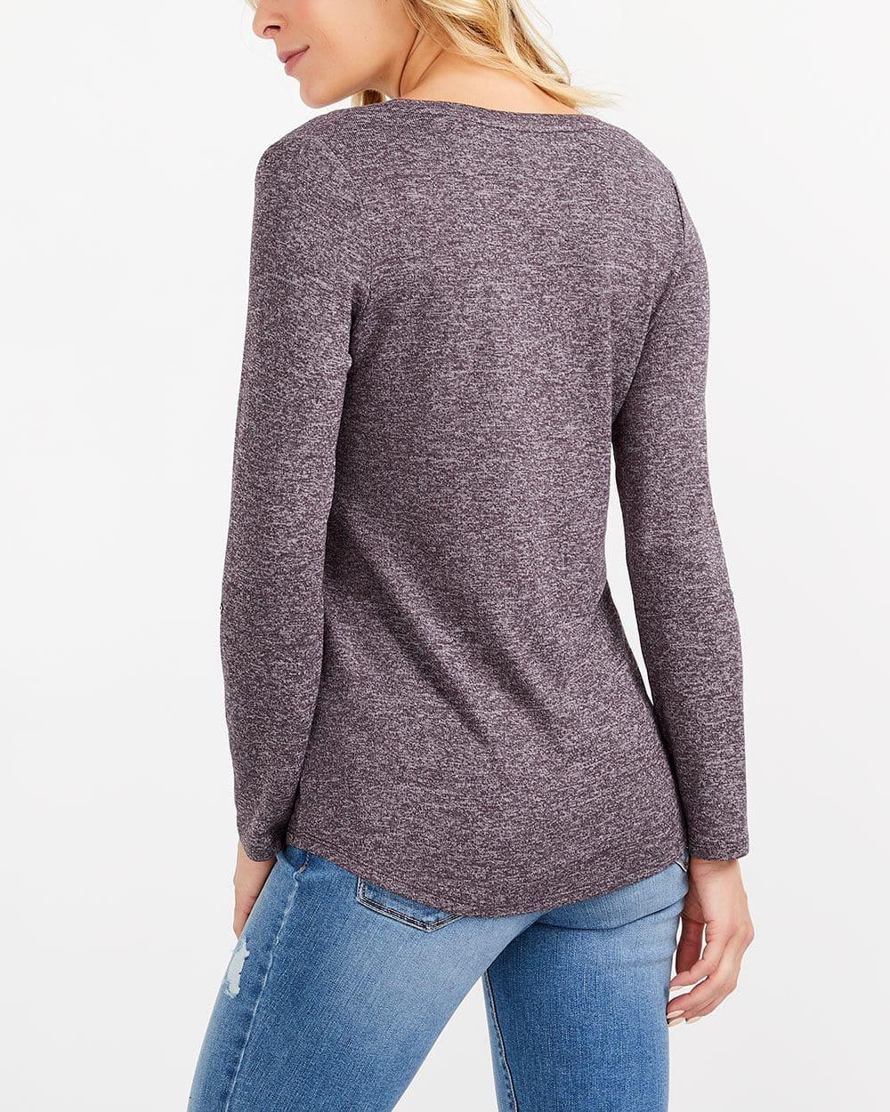 Adjustable Sleeve Solid Henley Top