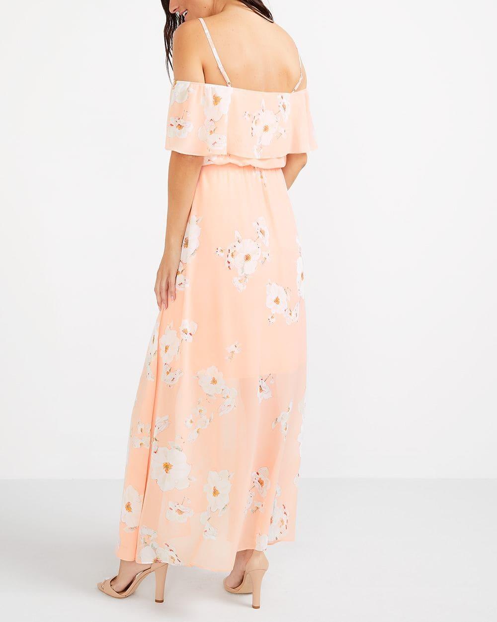 Robe imprimée à épaules dénudées