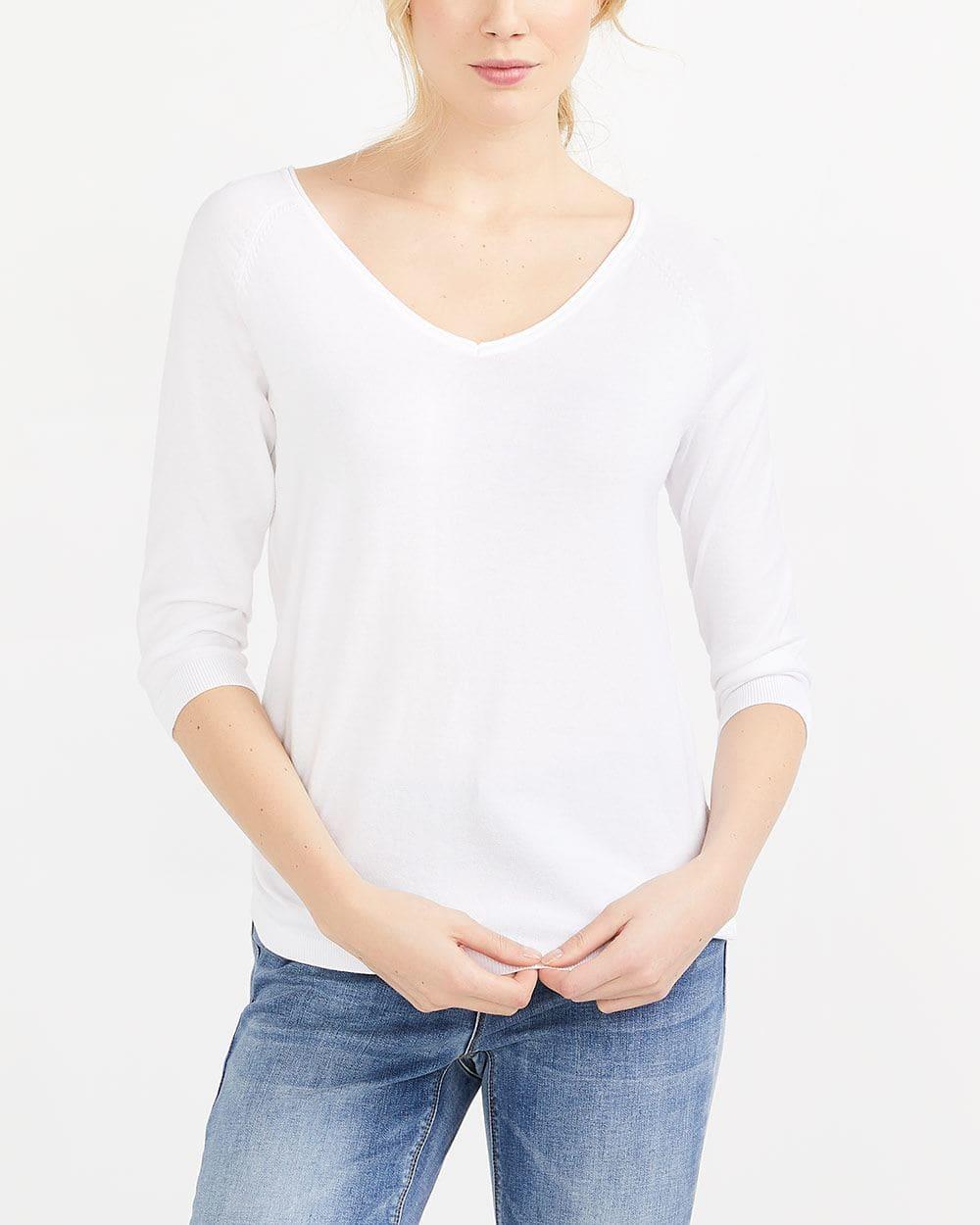 R Essentials ¾ Sleeve V-Neck Sweater