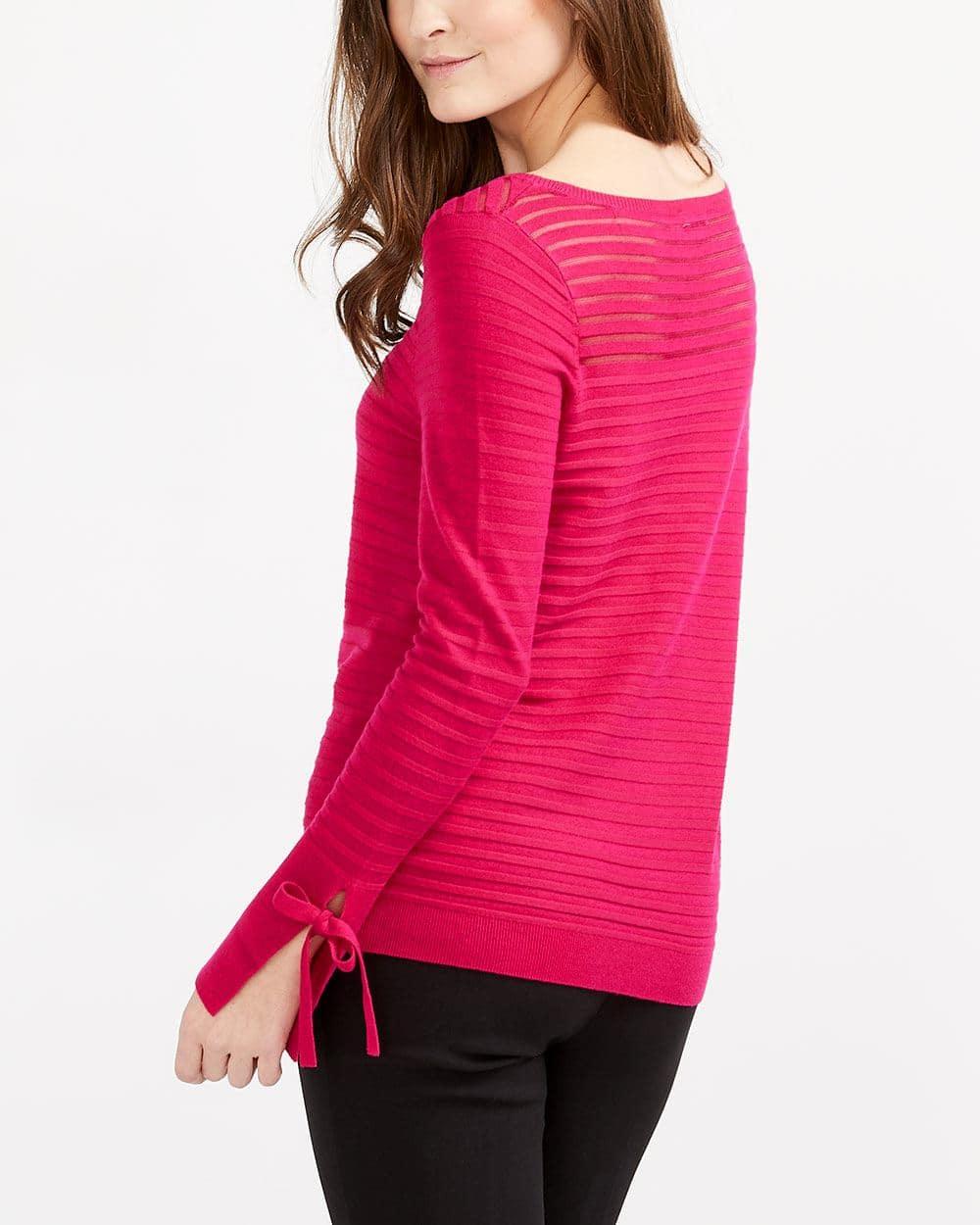 Tie Sleeve Striped Sweater