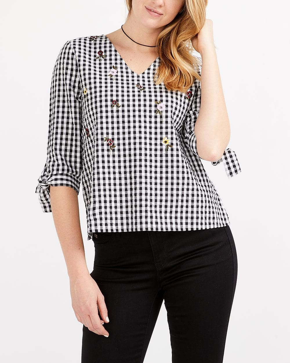 Embroidery Gingham Blouse