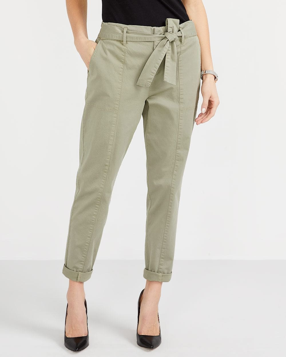 Petite Skinny Paper Bag Waist Pants