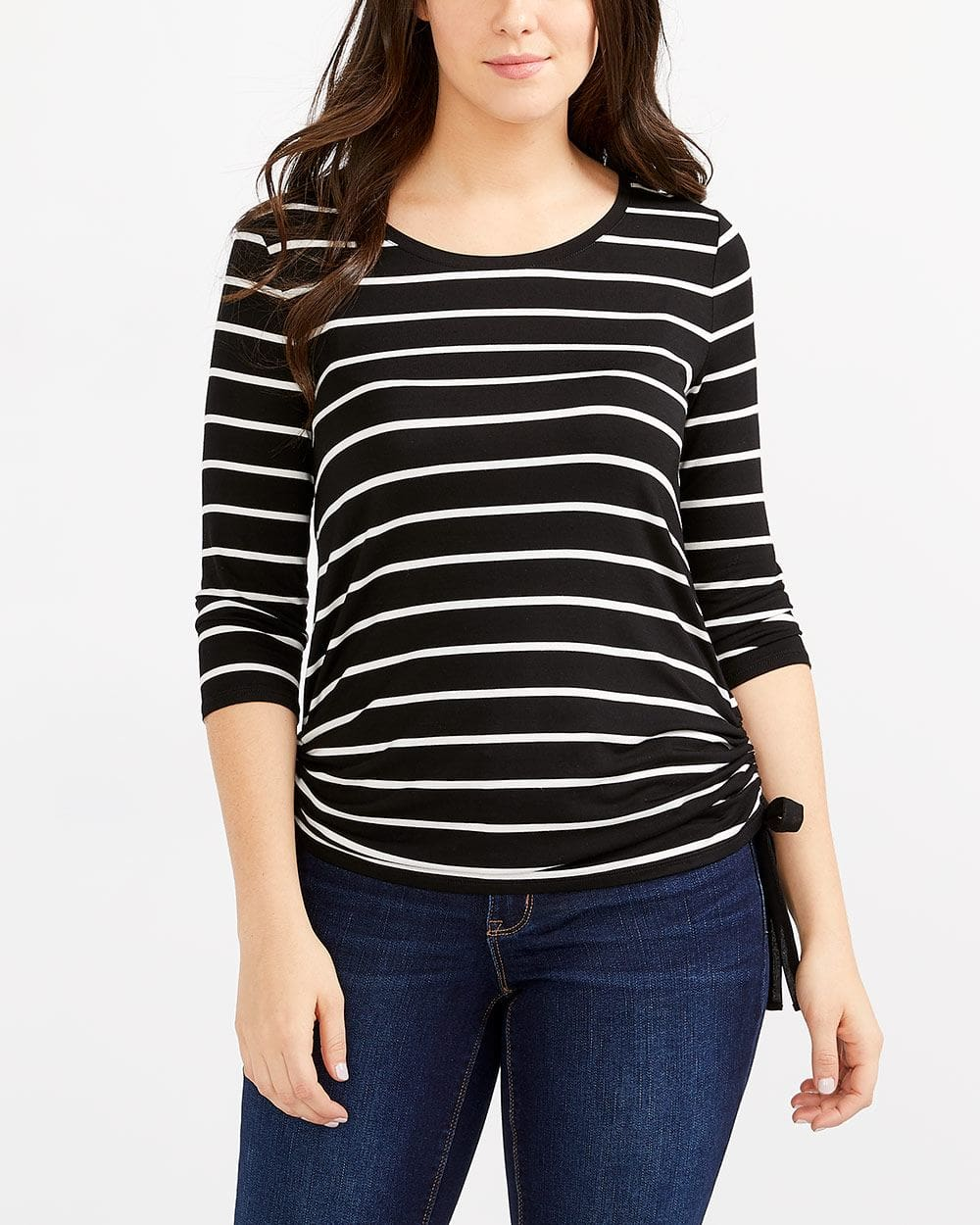 Ruched Side Striped Top