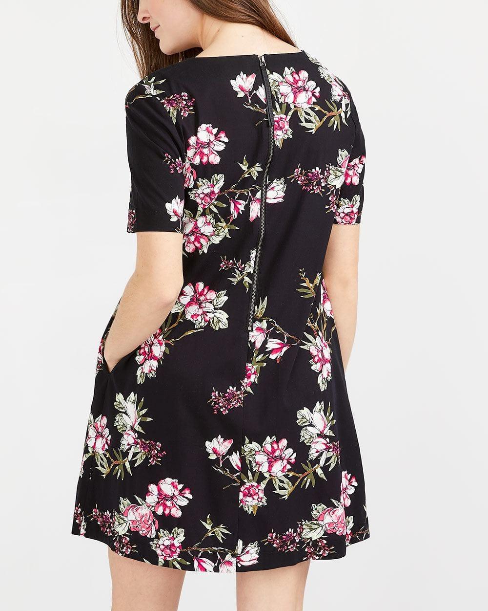 Short Sleeve Pocket Floral Dress