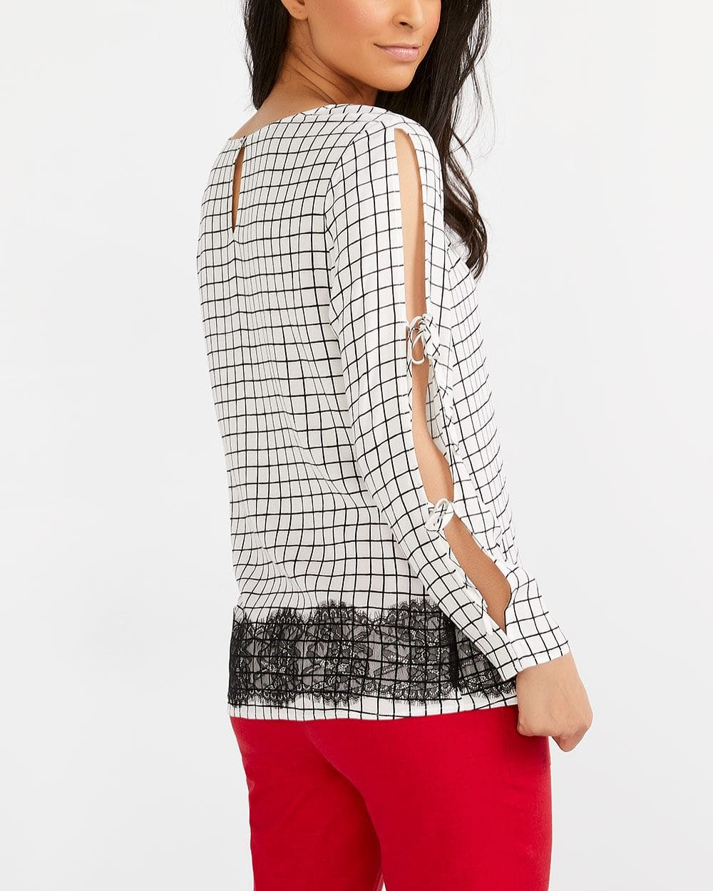 Blouse with Lace and Cut-outs