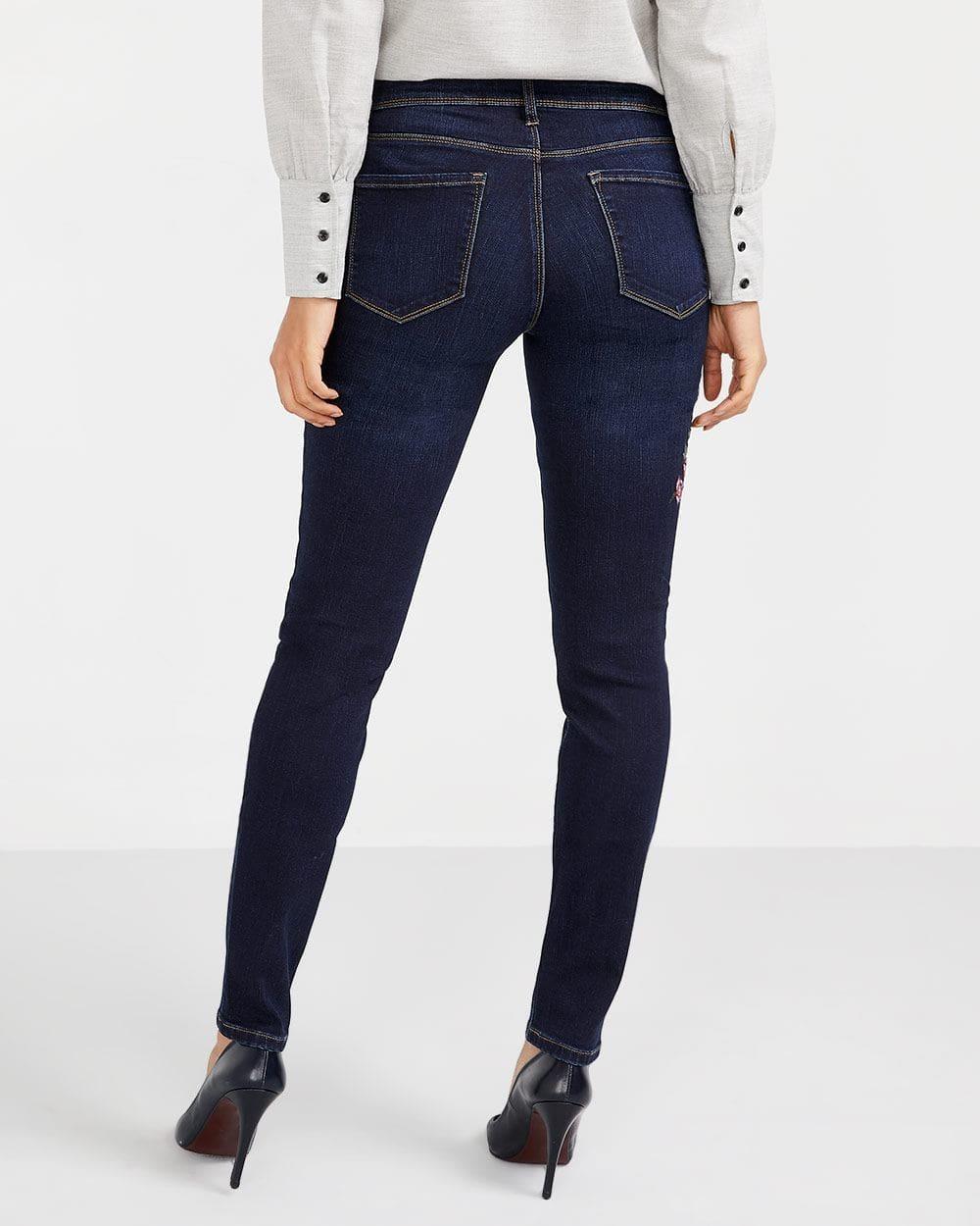Embroidered Dark Wash Skinny Jeans