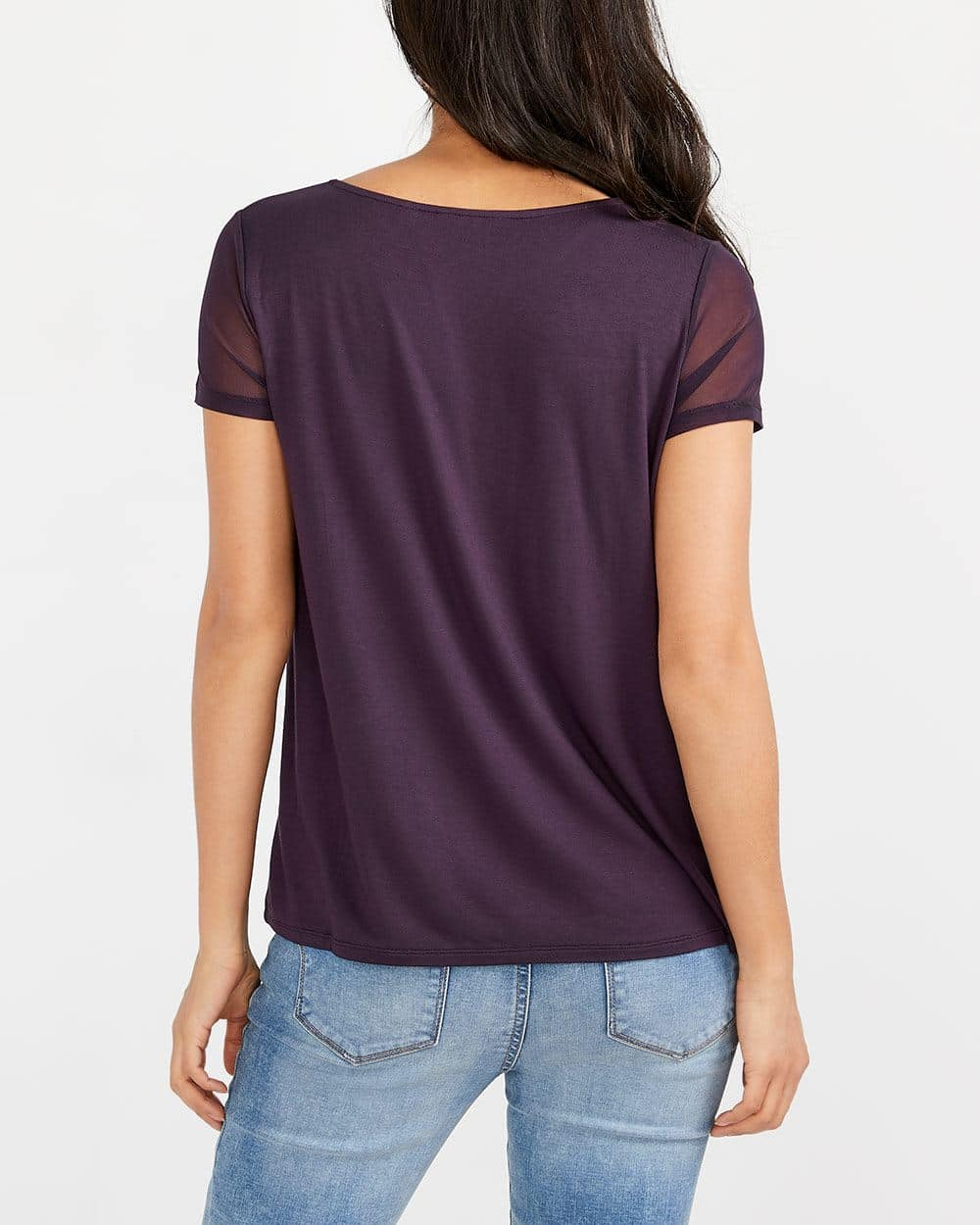 Mesh Yoke Solid T-Shirt
