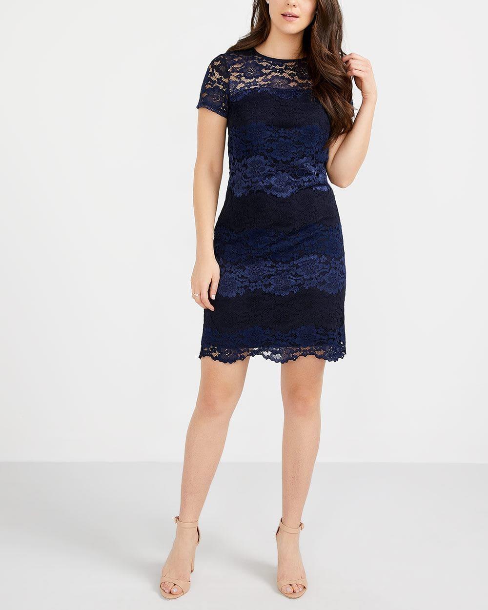 Lace Striped Bodycon Dress