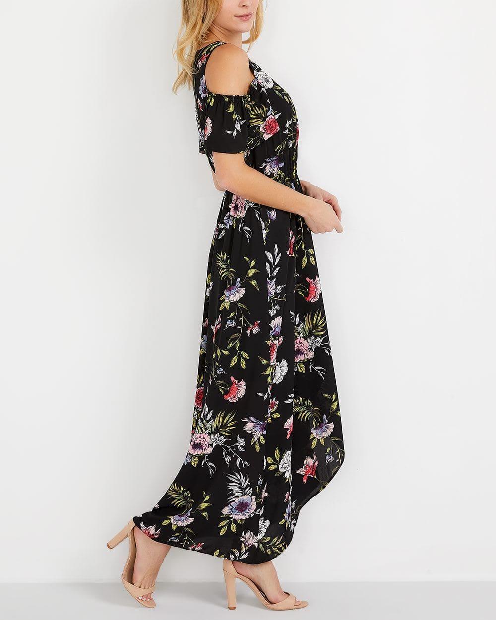 Cold Shoulder Printed Maxi Dress
