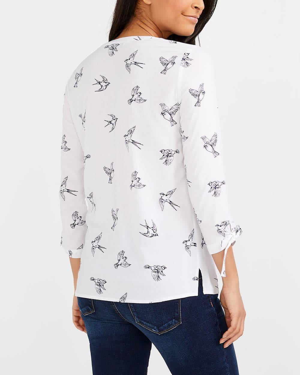 Tie Sleeve Printed Blouse