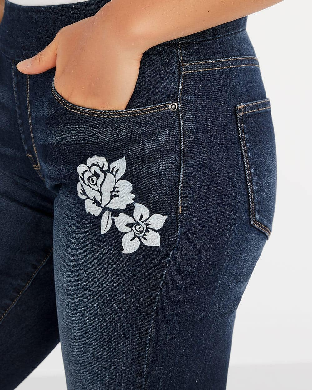 The Original Comfort Jean Capris with Embroidery