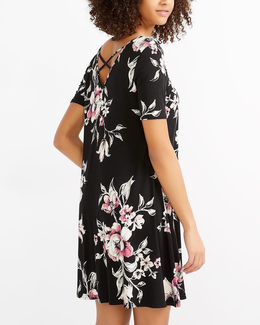 Reversible Cross Detail Printed Dress