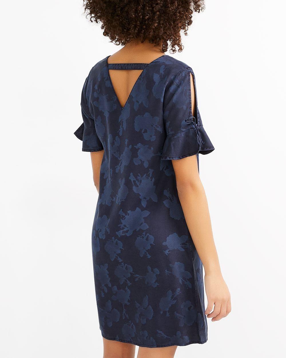 Ruffle Sleeve Printed Shift Dress