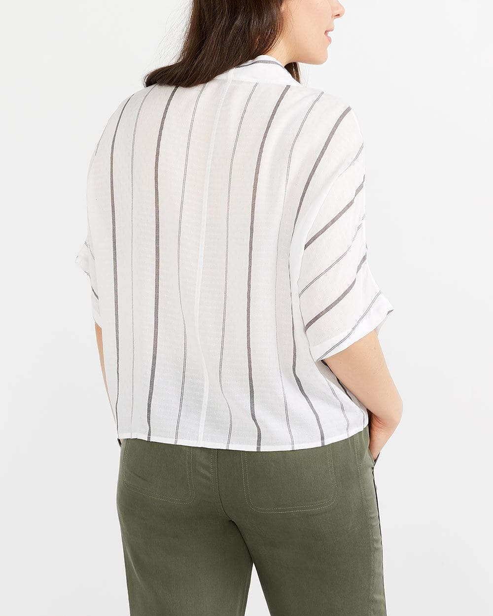 Dolman Sleeve Striped Blouse