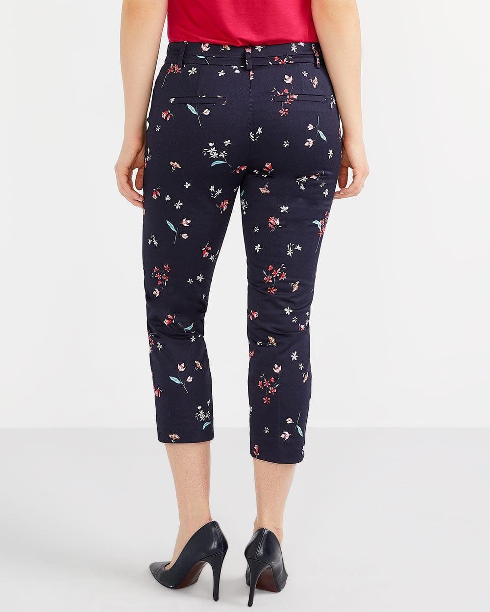 Petite Cotton Blend Printed Cropped Pants