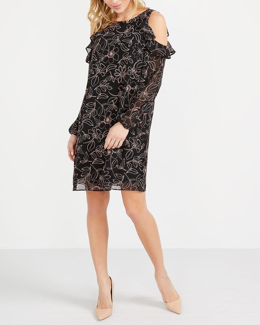 Printed Chiffon Cold-Shoulder Dress