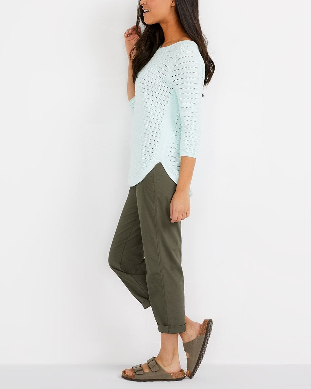 Cotton Blend Cropped Chino Pants