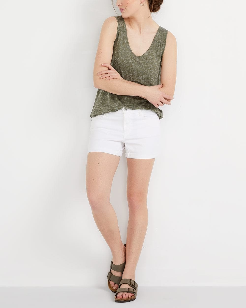 Short en jeans blanc