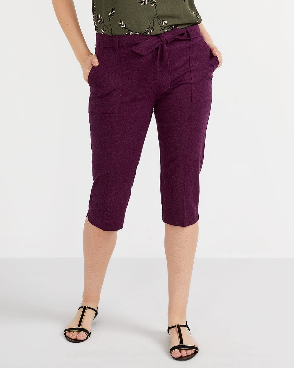 Pantalon capri en mélange de lin Petite