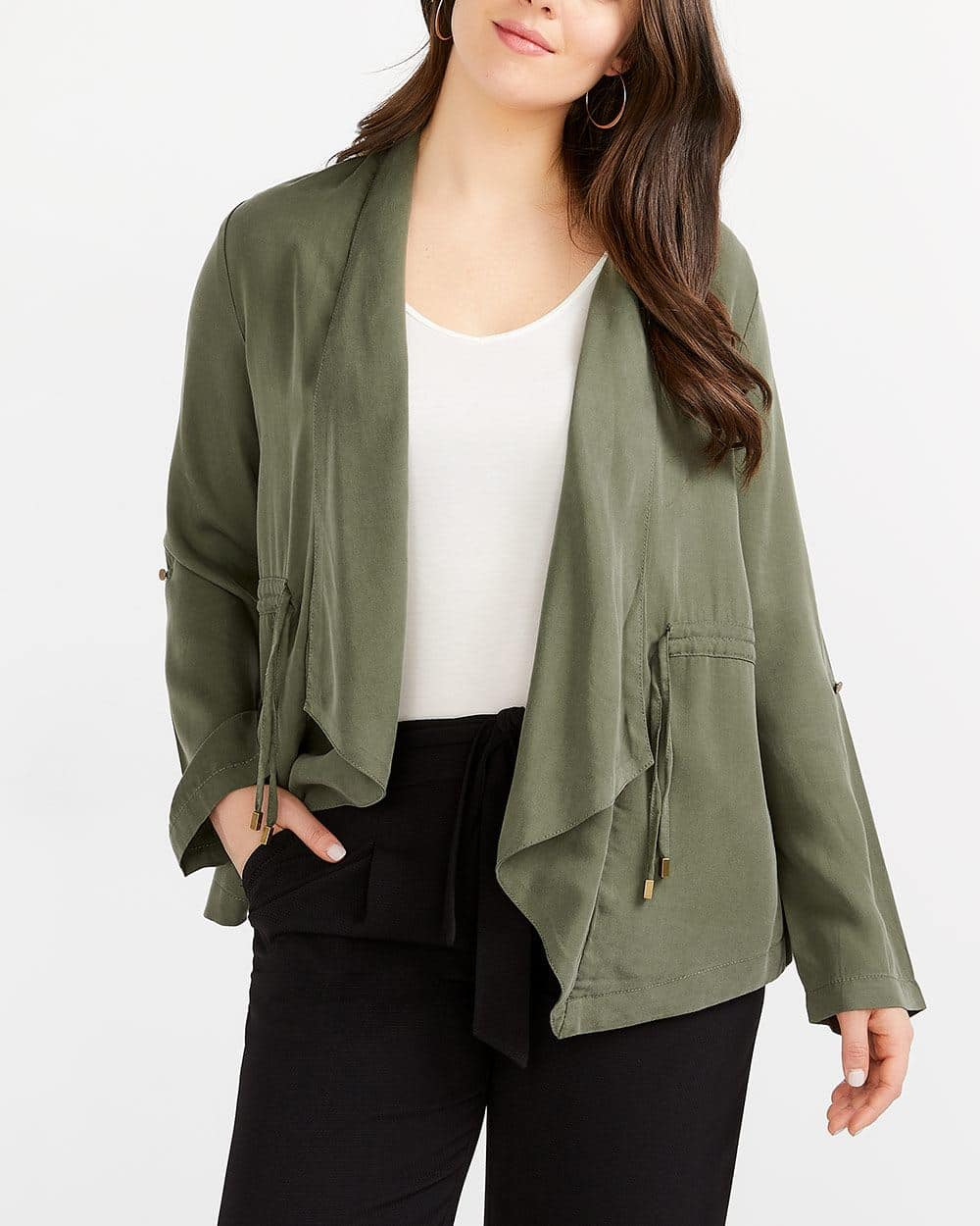 Adjustable Sleeve Open Blazer