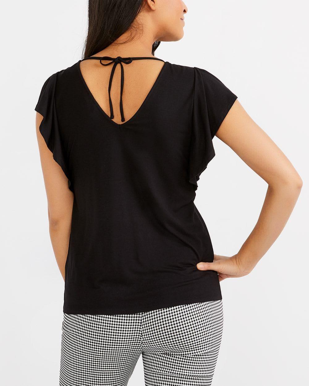 Back Detail Slit Sleeve Top