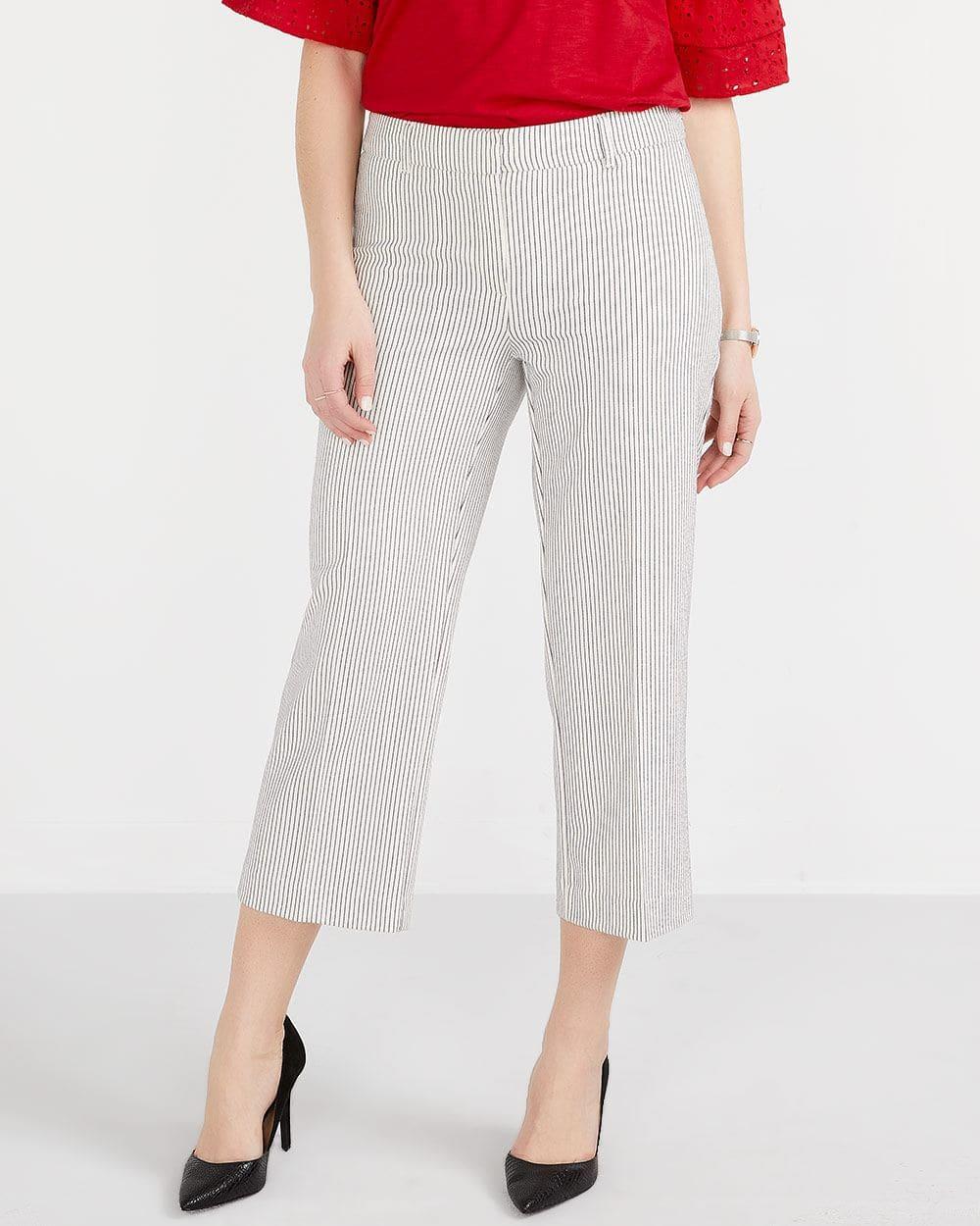 Seersucker Cropped Pants
