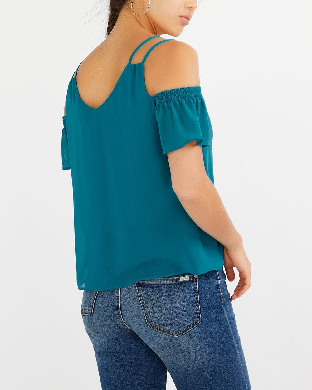 Double Strap Cold-Shoulder Blouse